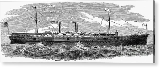 1867 Acrylic Print featuring the photograph 4 Wheel Steamship, 1867 by Granger