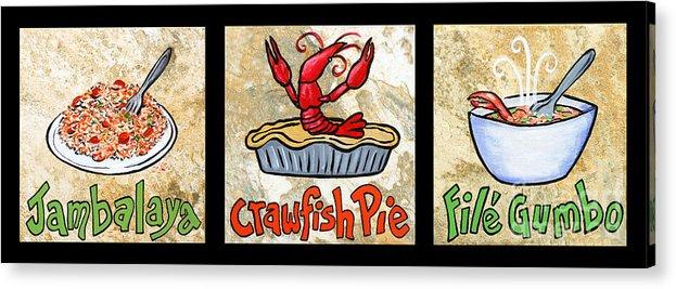 Jambalaya Acrylic Print featuring the painting Cajun Food Trio by Elaine Hodges