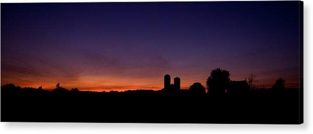 Farm Silhouette Lancaster Silo Sunset Sun Set Acrylic Print featuring the photograph Farm Silhouette by William Haney