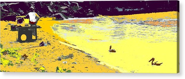 St Kitts Acrylic Print featuring the photograph Feeding The Pelicans by Ian MacDonald
