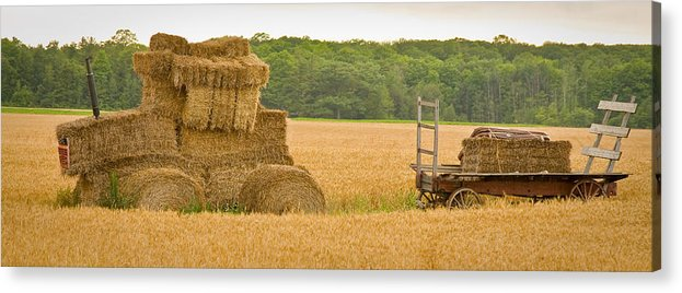 Wisconsin Acrylic Print featuring the photograph Hay Tractor by Carl Jackson