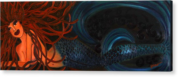 Mermaids Artwork Acrylic Print featuring the painting Mermaid Katheryn  by Helen Gerro