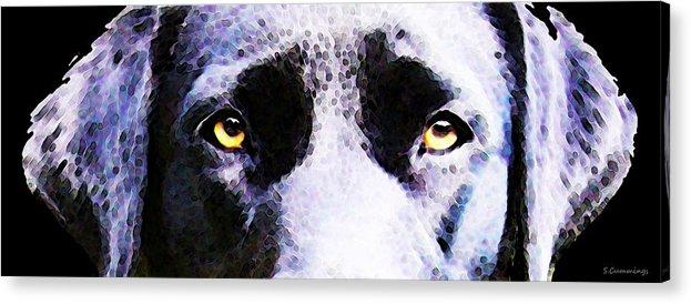 Labrador Retriever Acrylic Print featuring the painting Black Labrador Retriever Dog Art - Lab Eyes by Sharon Cummings