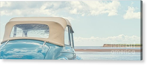Prince Edward Island Acrylic Print featuring the photograph Classic Vintage Morris Minor 1000 Convertible At The Beach by Edward Fielding