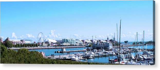 Cities Acrylic Print featuring the photograph Navy Pier Chicago Il Looking Northeast by Thomas Woolworth