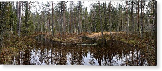 Lehtokukka Acrylic Print featuring the photograph Haukkajoki Panorama 1 by Jouko Lehto