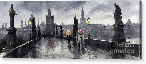 Prague Acrylic Print featuring the painting Bw Prague Charles Bridge 05 by Yuriy Shevchuk