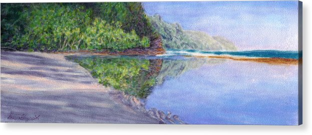Rainbow Colors Pastel Acrylic Print featuring the painting Ke' E Beach In May by Kenneth Grzesik