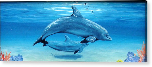 Dolphin Acrylic Print featuring the painting Momma by Darlene Green