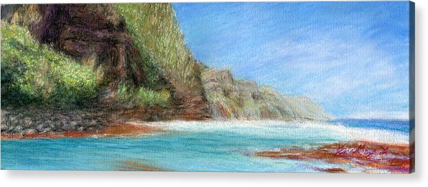 Rainbow Colors Pastel Acrylic Print featuring the painting Na Pali by Kenneth Grzesik