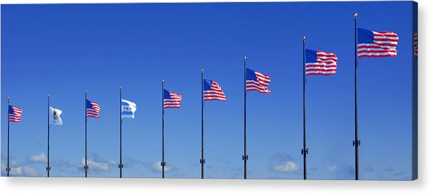 American Acrylic Print featuring the photograph American Flags On Chicago's Famous Navy Pier by Christine Till