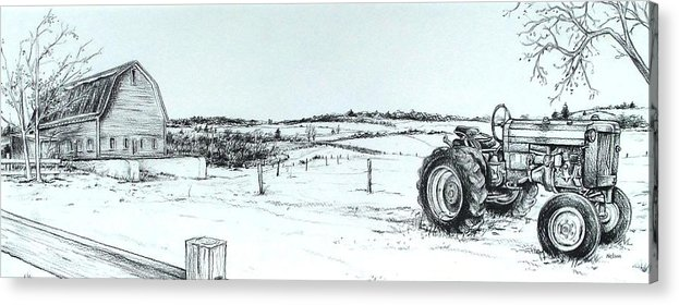 Tractor Acrylic Print featuring the drawing Parked Tractor by Scott Nelson