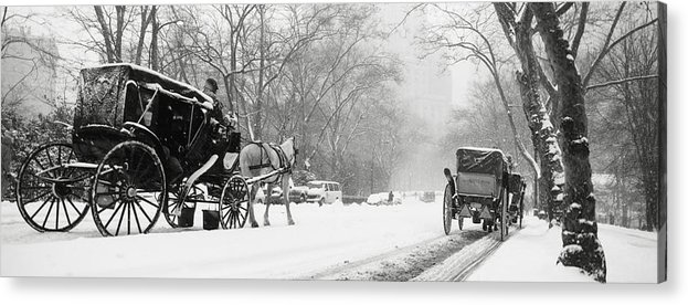 Weather Acrylic Print featuring the photograph Central Park In Falling Snow by Axiom Photographic
