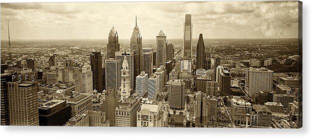 Philadelphia Acrylic Print featuring the photograph Aerial View Philadelphia Skyline Wth City Hall by Jack Paolini