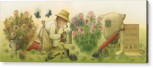 Bears Garden Flowers Roses Magic Glamour Acrylic Print featuring the painting Florentius The Gardener11 by Kestutis Kasparavicius