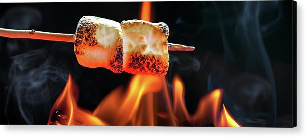 Background Acrylic Print Featuring The Photograph Roasting Marshmallows Over Campfire Horizontal Banner By Susan Schmitz