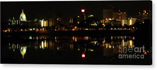 City Nightscape Images City Lights Prints Symmetrical Reflections Harrisburg Pennsylvania Night Lights Prints Cityscape Prints Nightlife Nocturnal City Skyline Panorama Acrylic Print featuring the photograph Harrisburg Night Lights by Joshua Bales