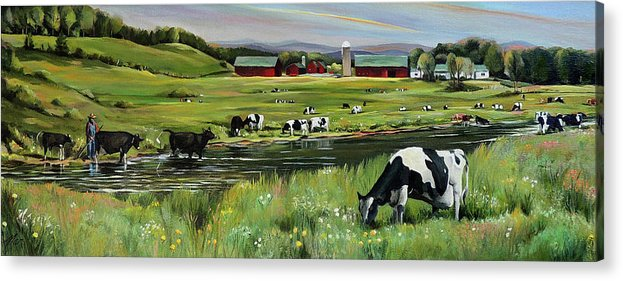 Landscape Acrylic Print featuring the painting Dairy Farm Dream by Nancy Griswold