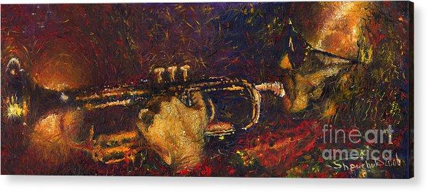 Jazz Acrylic Print featuring the painting Jazz Miles Davis by Yuriy Shevchuk