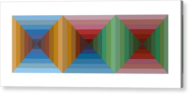 Multi Colored Framed Graphic Dimensional Canvas Prints Spectrum Acrylic Print featuring the painting Multi-color Graphic Horizontal Maze by Beverly Trivane