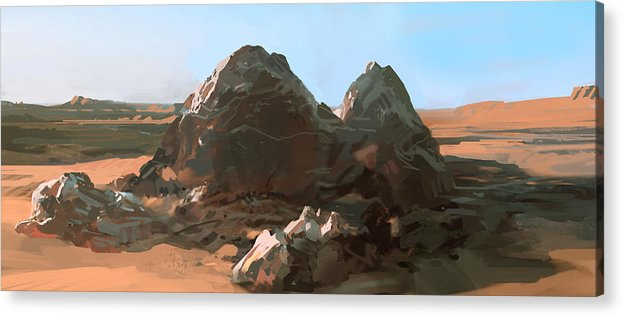 Landscape Acrylic Print featuring the digital art Lonely Rocks by Daniel Xiao