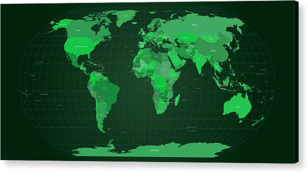 Map Acrylic Print featuring the digital art World Map In Green by Michael Tompsett