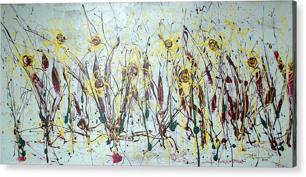 Flowers Acrylic Print featuring the painting Tending My Garden by J R Seymour