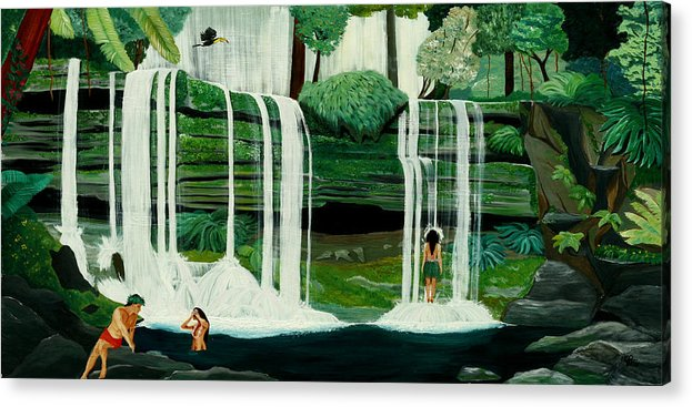 Tiki Art Acrylic Print featuring the painting Wahines In Waterfall by Julie Pflanzer