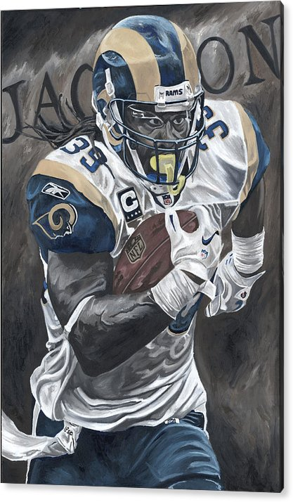 Steven Jackson St Louis Rams Running Back Sports Art David Courson Football Nfl Acrylic Print featuring the painting Battering Ram by David Courson