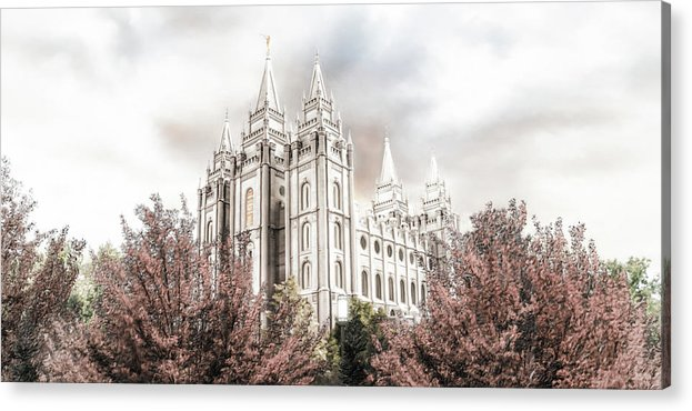 Salt Lake Acrylic Print featuring the painting Salt Lake Latter Day Temple by Brent Borup
