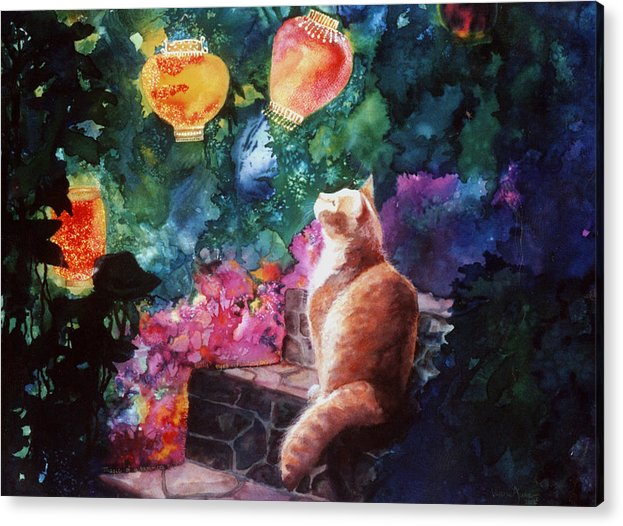 Kitty Acrylic Print featuring the painting Summer Magic by Valerie Aune