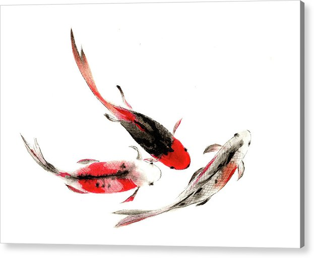 Chinese brush color ink carp by Chun Su
