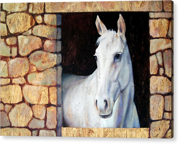 Horse Acrylic Print featuring the painting White Horse1 by Farhan Abouassali