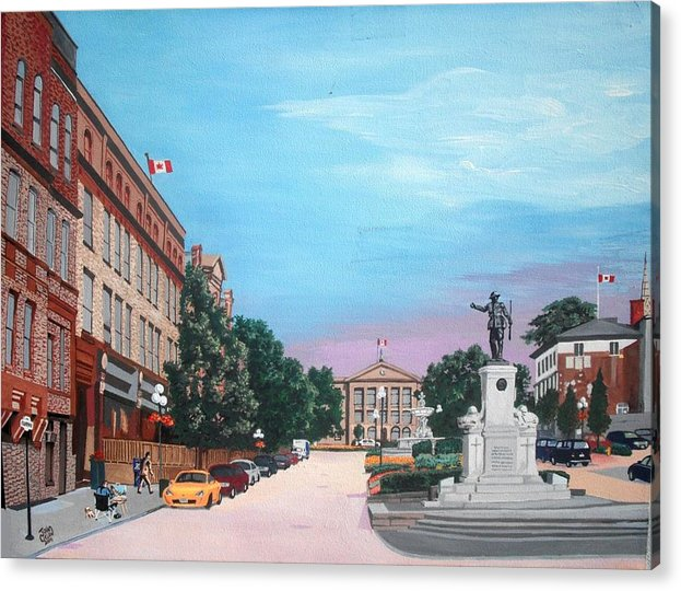 Brockville Acrylic Print featuring the painting Courthouse Square Brockville Ontario 2009 by John Cullen