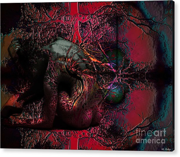 Abstarct Acrylic Print featuring the mixed media Private Dancer by ML Walker
