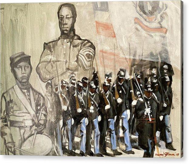 Black Civil War Regiment; Civil War; Black Infantry; Black Soldiers; All Black Infantry Regiments; 54th Massachusetts Infantry Regiment; 54 Massachusetts Acrylic Print featuring the painting The 54th Massachusetts by Howard Stroman