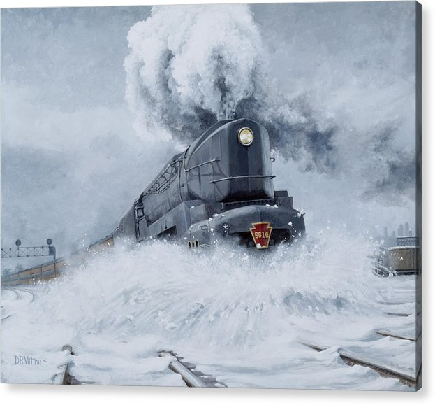 Trains Acrylic Print featuring the painting Dashing Through the Snow by David Mittner