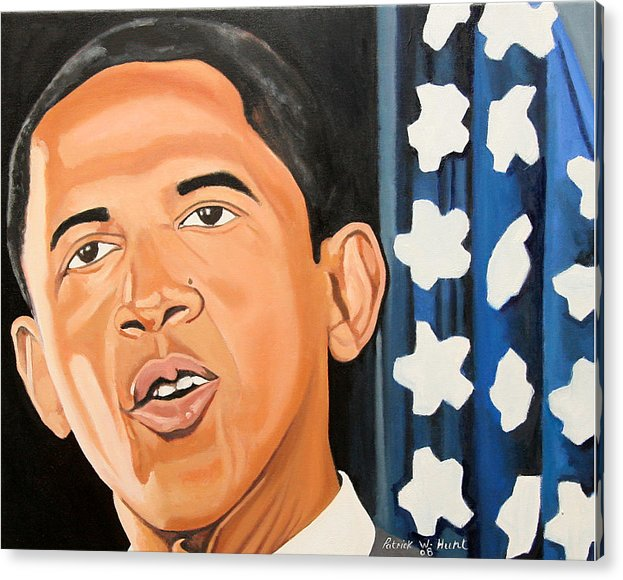 Obama Paintings Acrylic Print featuring the painting President Elect Obama by Patrick Hunt