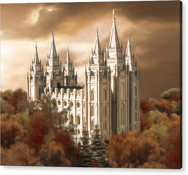 Salt Lake Acrylic Print featuring the painting Salt Lake Temple #2 by Brent Borup