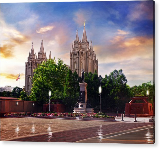 Salt Lake Acrylic Print featuring the painting Salt Lake Temple - After the Storm by Brent Borup