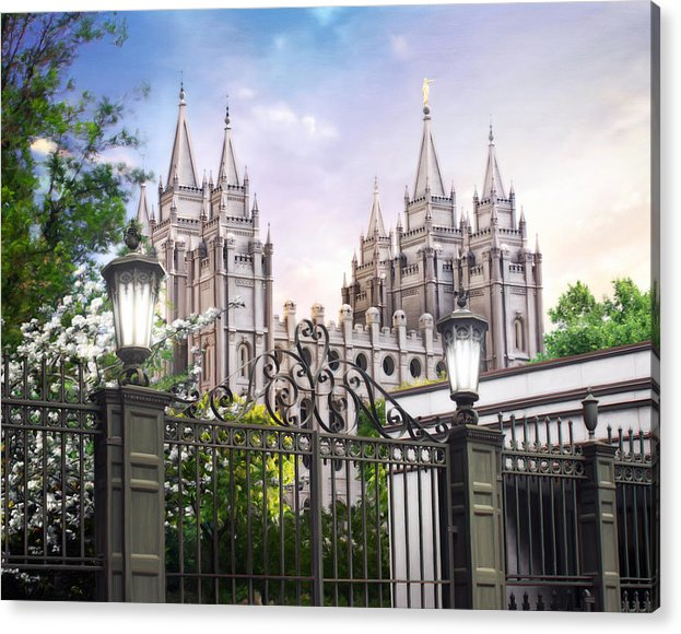 Salt Lake Acrylic Print featuring the painting South Temple by Brent Borup