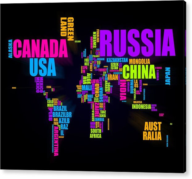 World Map Acrylic Print featuring the digital art World Text Map 16x20 by Michael Tompsett