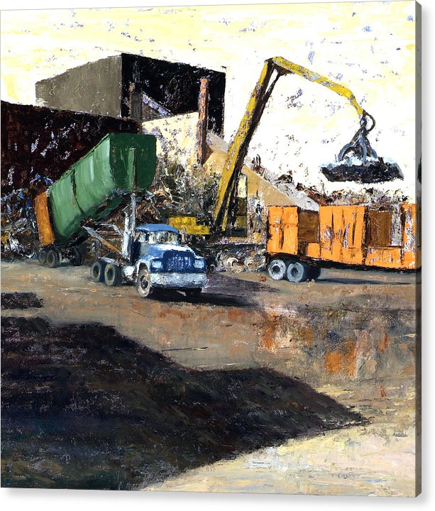 Trucks And Cranes At A Steel And Aluminum Recycling Center Chicago Industrial Corridor Acrylic Print featuring the painting The Blue Truck by Nancy Albrecht