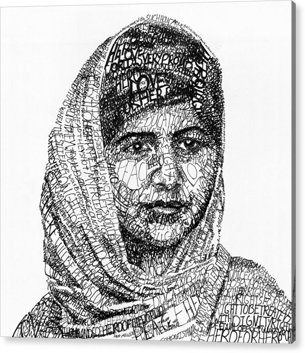 Girl Acrylic Print featuring the drawing Malala Yousafzai by Michael Volpicelli