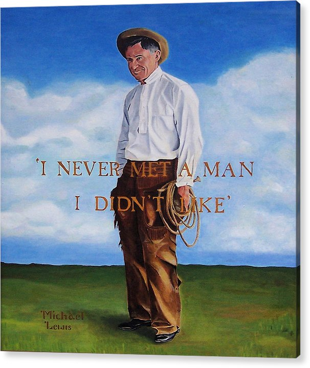 Oil Acrylic Print featuring the painting Will Rogers by Michael Lewis