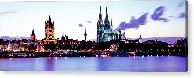 Panoramic Acrylic Print featuring the photograph Cathedral And Rhine River by Murat Taner