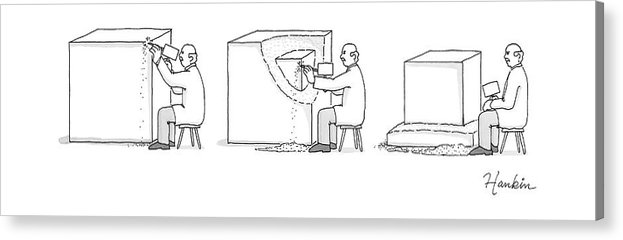 Captionless Acrylic Print featuring the drawing A Sculptor Carves a Cube Out of a Cube by Charlie Hankin