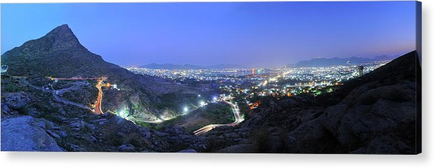 Scenics Acrylic Print featuring the photograph Blue Hour Ajmer City Panorama by Nimit Nigam