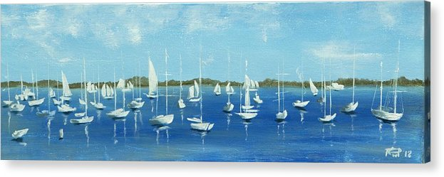 Oil Acrylic Print featuring the painting Port Townsend wooden boats festival by Poul Costinsky