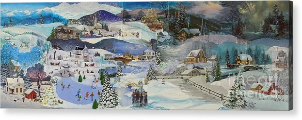 Landscape Acrylic Print featuring the mixed media Purple Twilight on Snow- SOLD by Judith Espinoza